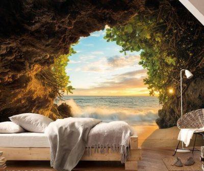 Tapet dormitor 3D Peșteră și Marea 3D (1)