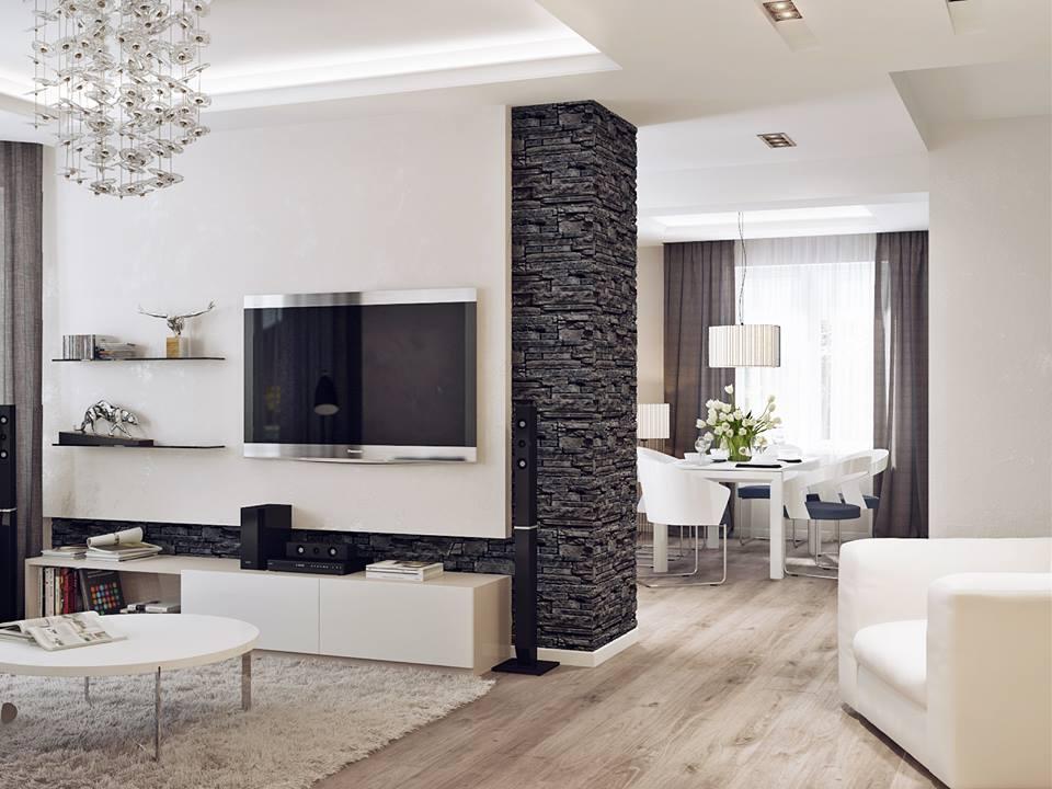 amenajare living cu piatra decorativa 2