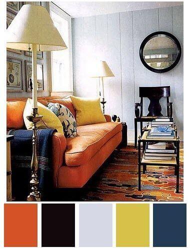 culoare living portocaliu si albastru2