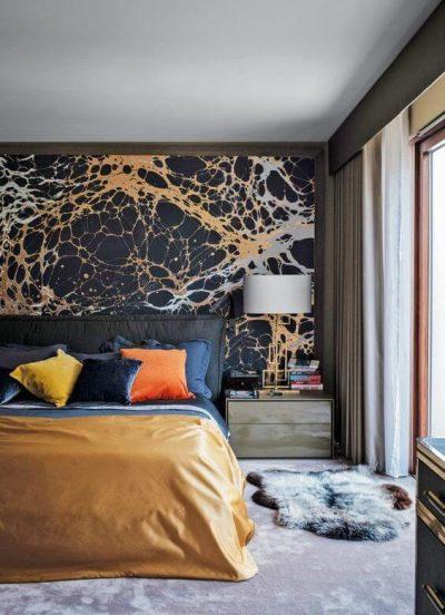 dormitor modern cu tapet 1