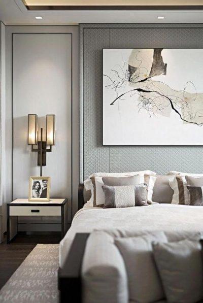 dormitor modern in nuante metalizate de gri 1