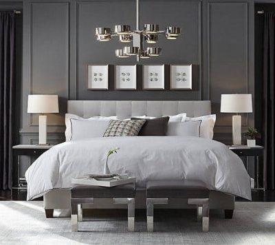 dormitor modern in nuante metalizate de gri 2